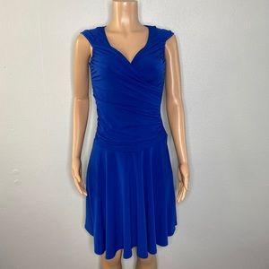 Tahari Arthur S. Levine Blue Ruched V Neck Dress 2